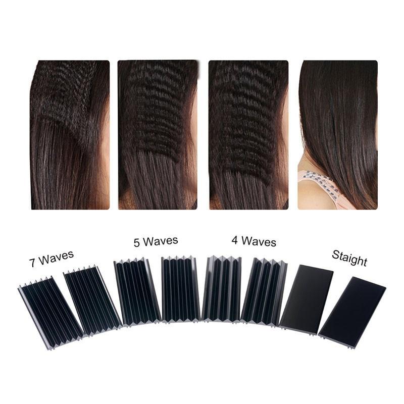 Купить с кэшбэком Hair Straightener Interchangeable 4 in 1 Hair Curler Negative Ions Plates Ceramic Flat Iron Corrugation Curling Iron styling2801