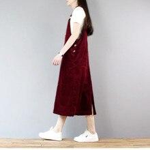 Новая мода свободное ТРАПЕЦИЕВИДНОЕ вельветовое платье для женщин длинное до середины икры размера плюс цельное S-XL платье-комбинезон
