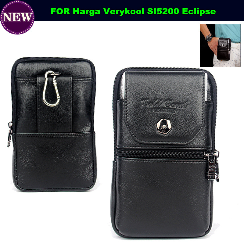 Genuine Leather Carry Belt Clip Pouch Waist Purse Case Cover for Harga Verykool SI5200 Eclipse Phone Bag Free Shipping