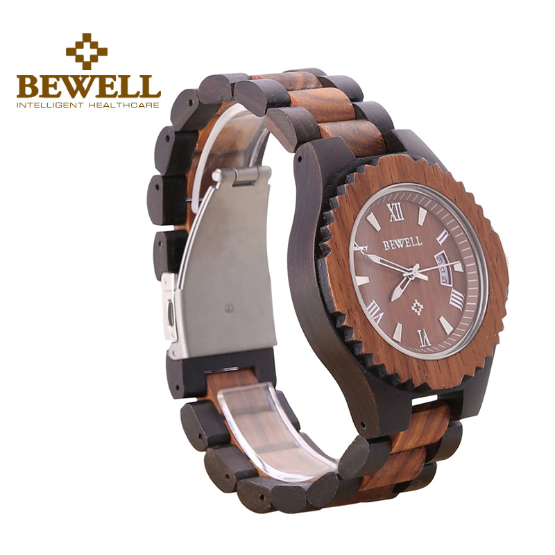 ФОТО BEWELL Mens Bangle Business Wood Watches Analog Date Wooden Band Folding Clasp Japanese Quartz Casual Wristwatch 129A