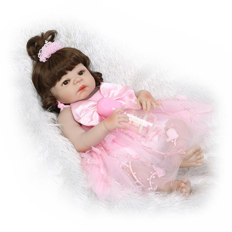 22 Inch NPK Full Body Silicone baby Doll 56cm alive boneca lovely Girl princess bathable ...