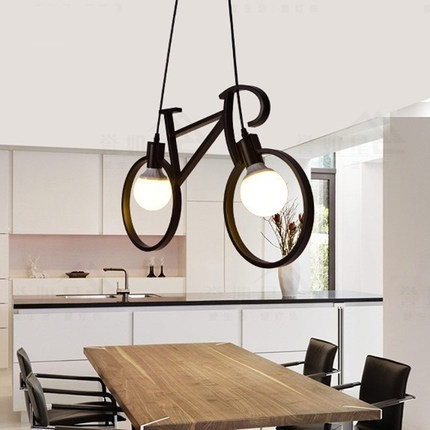 Retro Loft Style Iron Bicycle Droplight LED Pendant Light Fixtures Vintage Industrial Lighting For Dining Room Hanging Lamp retro loft style rope bamboo droplight creative iron vintage pendant light fixtures dining room led hanging lamp home lighting