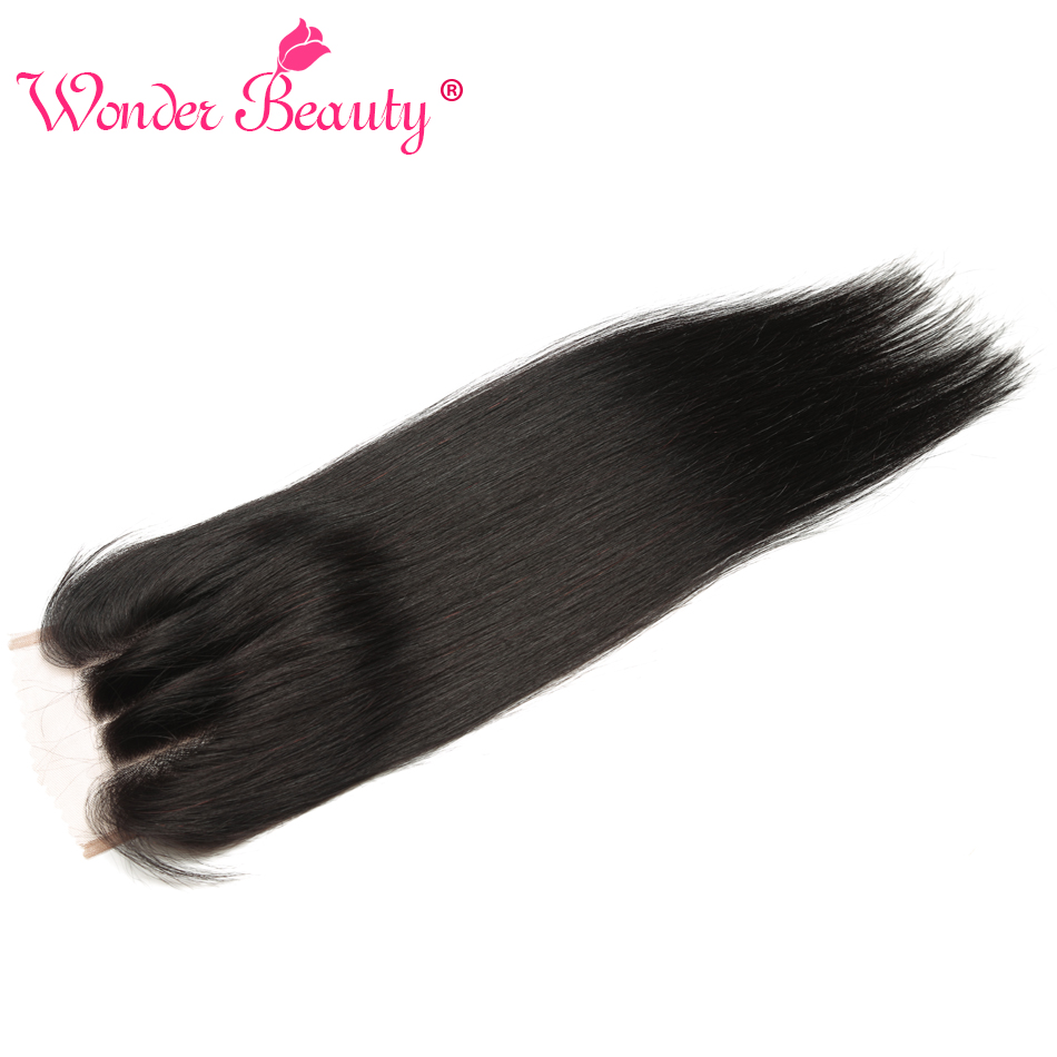 Wonder Beauty Hair Brazilian straight Remy Lace Closure 4''x4'' Human Hair Three Part Natural Color 8- 20 inch can be dyed 1pcs