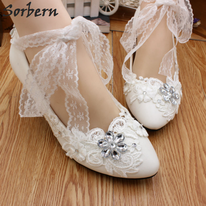 Sorbern Handmade Lace Up Wedding Party Shoes White Crystal Bridesmaid Shoes High Heels Ladies Shoes CN Size 40 Bridal Heels