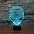1Piece 7 Colors Changing 3D Hologram Illusion Pop-eyed Alien Shape Lamp Acrylic Night Light With Touch Switch Luminaria GX265