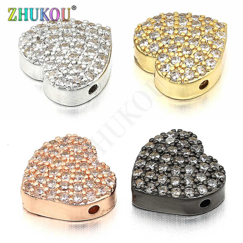 10*10 มม. ทองเหลือง Cubic Zirconia Charms Connectors, หัวใจ, สีผสม, หลุม: 1 มม., รุ่น: VS225