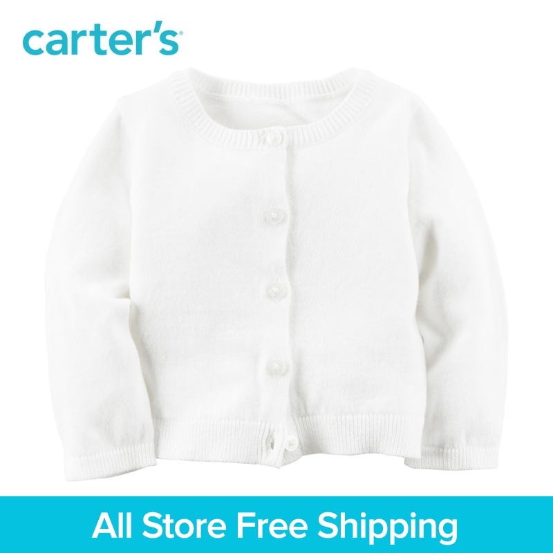 1pcs Button-Front cotton sweater soft knit Cardigan Carter's baby girl spring fall clothing 120G125 button front frilled detail top