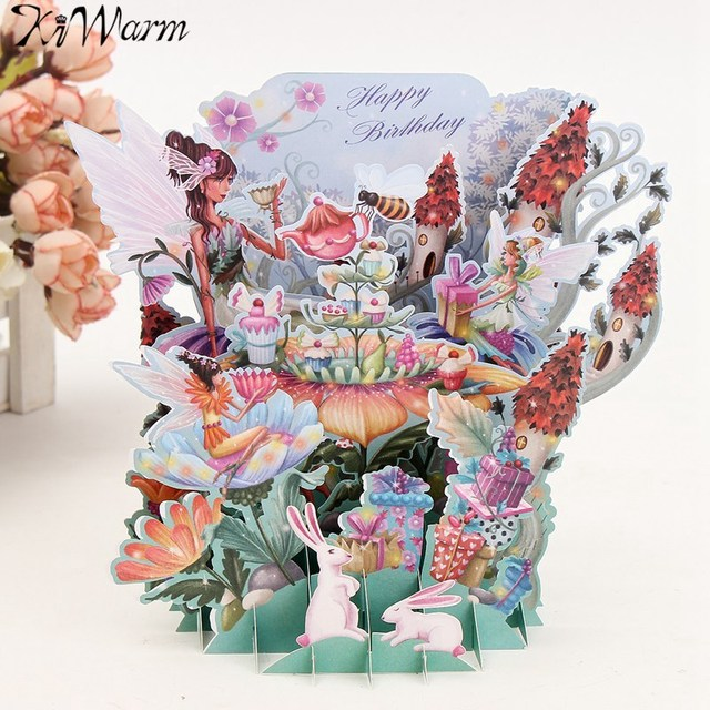 Kiwarm romantic flower fairy diy 3d pop up greeting card laser cut kiwarm romantic flower fairy diy 3d pop up greeting card laser cut origami paper craft birthday mightylinksfo