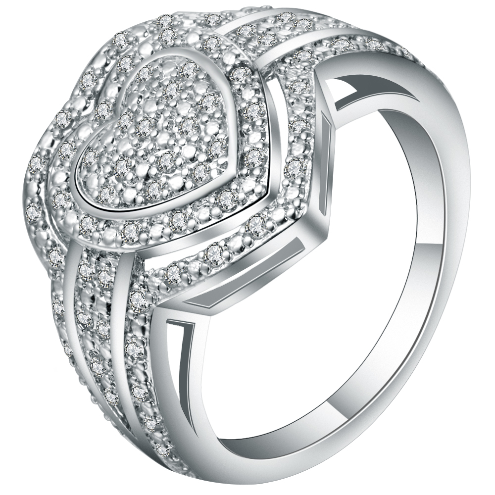 Exquisite Full White Crystal Lord Of Heart Ring Jewelry
