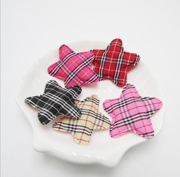 10pcs/lot 4cm Cute Padded Felt/Gingham Star Shape Appliques Kidsc DIY, Baby BB Clip Accessories