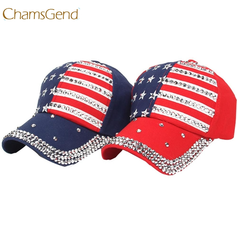 Chamsgend moda bandera americana estrellas Gorras de béisbol mujeres  hombres rhinestone grande SnapBack hip hop sombrero plano Día de la  independencia 70523 9ca5b9c82a0