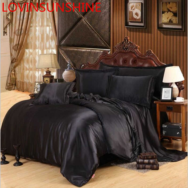 LOVINSUNSHINE Luxury Bed Sheet US King Size Silk Duvet Cover Set Satin Silk Bedding Sets AX06#