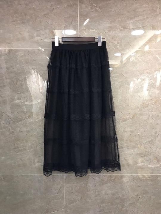Printemps Femme Skirt0311 longueur Ensembles Et Élastique D'été 2019 Nouvelle Deux De Demi Fil Noir Épissage mnvN0wO8