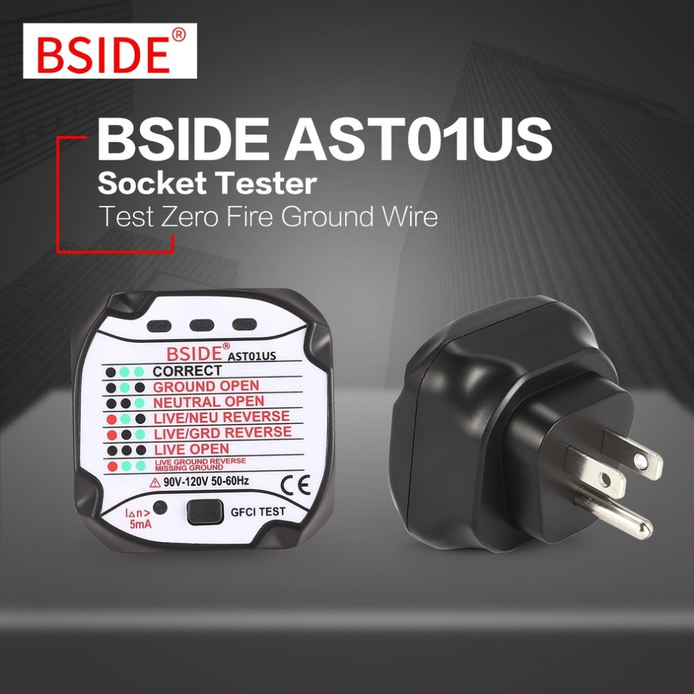 BSIDE AST01US Socket Outlet Tester US Plug Circuit Polarity Voltage  Automatic Detector Wall Plug Breaker Finder Test 90V~120V-in Voltage Meters  from Tools ...