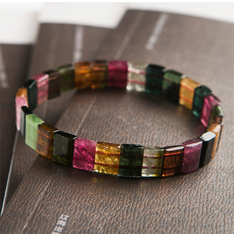 2018 Newly Top Quality Natural Colorful Tourmaline Stone Rectangle Beads Bracelet AAAAA Fashion Women Men Crystal Stone Bracelet shiying c04349 fashion elephant multilayer tourmaline natural crystal bracelet blue