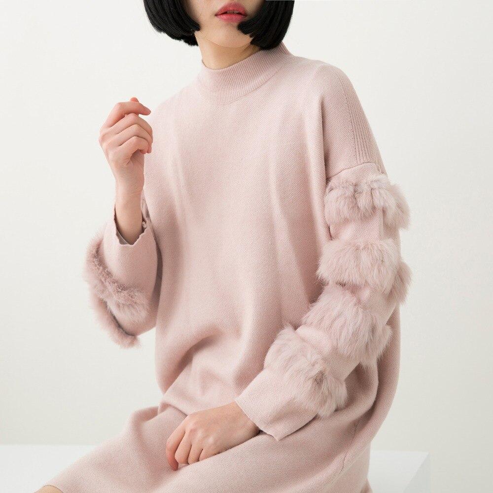 цена на Fashion Rabbit real Fur Sweater Dress Autumn Long Sleeve splice Jumpers Women Long Sweaters Knitted Dresses Plus Size Clothing
