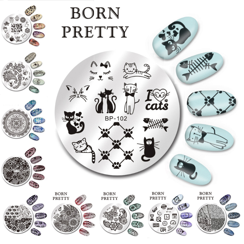BORN PRETTY 5.5cm Round Nail Art Stamp Stamping Plates Template Set Cute Animal Flower Rose Lace Image Manicure Plate BP91 110