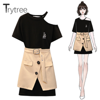 Trytree Summer Women top two piece set Casual Polyester O Neck Long Black Tops + Skirt Khaki Belt Female Suit Set 2 Piece Set