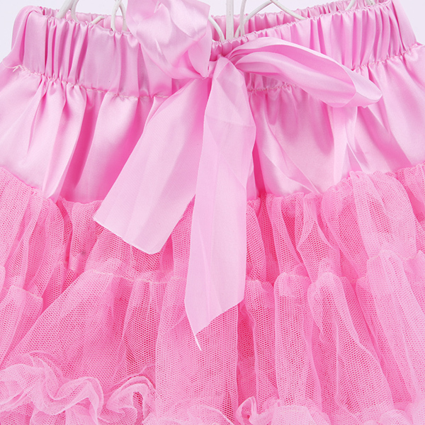 Multi-List Pettiskirt Bow-knot Girls Dance Tutu Skirt Solid Color KB0061