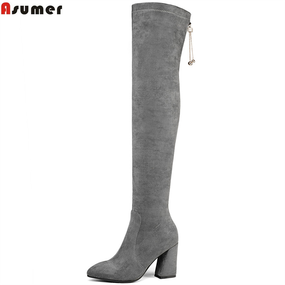 ASUMER 2018 fashion autumn winter women boots flock pointed toe ladies boots square heel gray black classic over the knee boots