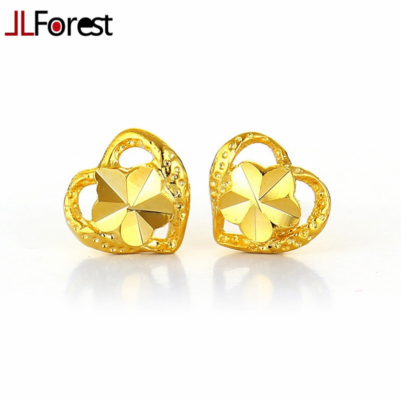 JLForest Fashion Heart Shaped Pure Gold Color Stud Earrings Women ...