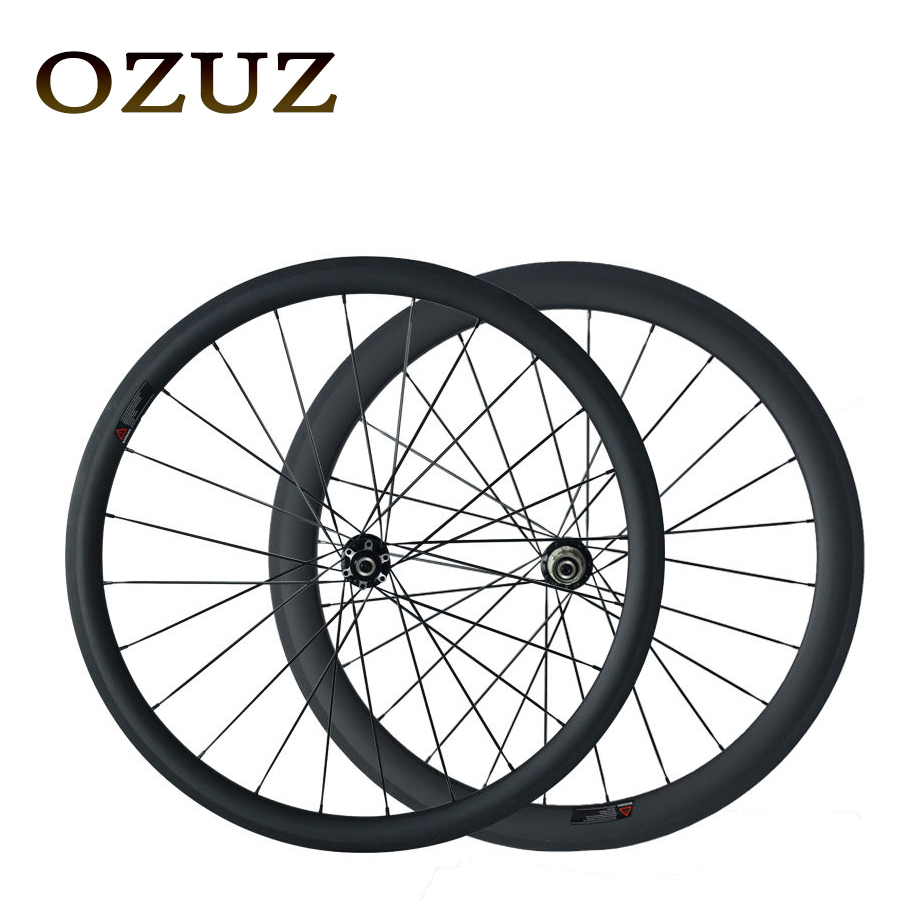 OZUZ Front 38mm Rear 50mm Clincher Tubular 3K Matte Glossy Carbon Fiber Wheels Road Bike Bicycle Wheel Disc Brake Alloy Nipple track fixed gear front 38mm rear 50mm depth clincher single speed carbon track wheels road bike bicycle wheel 3k matte or glossy