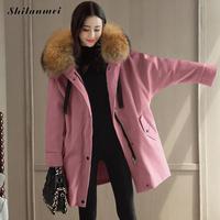 Vintage Winter Coat Women Slim Pink Warm Thick Jacket Fur Hooded Parka Big Size Long Overcoat