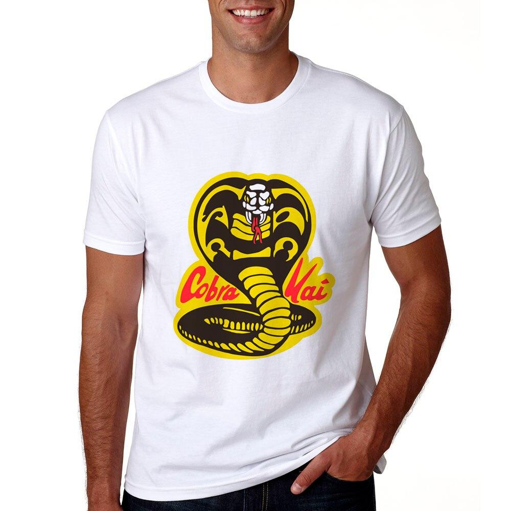 2018 Новый Cobra Kai футболка Для мужчин короткий рукав Karate Kid Cobra Kai футболки Летние Повседневное Для мужчин Cobra Kai карате футболка для мужчин
