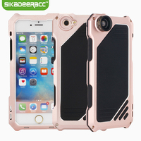 Waterproof Metal Silicone Phone Covers For iPhone 5s 6s Plus SE Cellphones Back Case + Fisheye Wide Angle Macro Camera Lens DA92