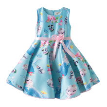 2018 new girls dress contrast color belt with flowers cute Sophia little princess print dress cartoon print dress with belt