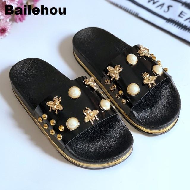 bf6ecb3a8a55 Bailehou New Women Slippers Flat Casual Women Shoes Slip On Slides Beach  Slippers Flip Flops Sandals Fashion Rivet Pearl Slipper