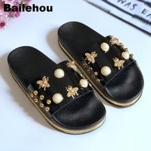 Bailehou New Women Slippers Flat Casual Women Shoes Slip On Slides Beach Slippers Flip Flops Sandals Fashion Rivet Pearl Slipper