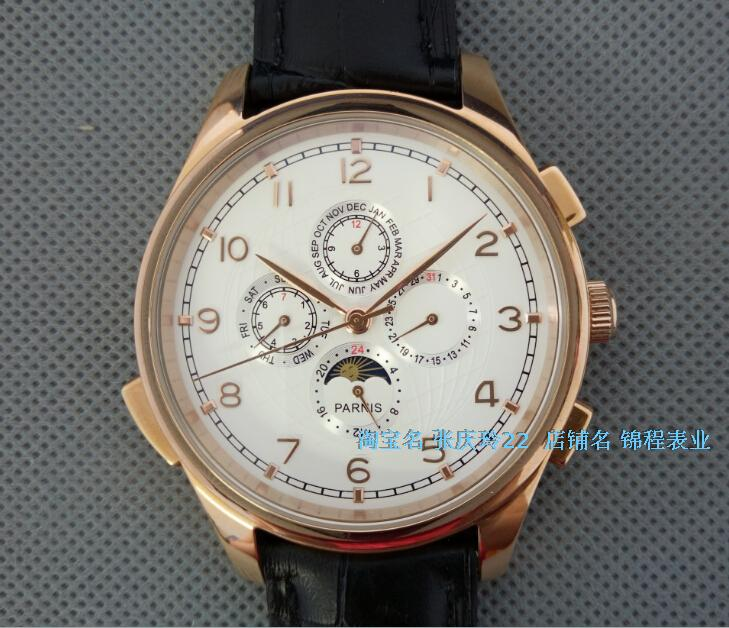 44MM PARNIS Automatic Self-Wind movement white dial multi-funtion men's watch Mechanical watches pvd Rose gold case 9