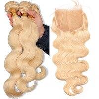 Светлые пучки с закрытием 613 тела волна пучки с закрытием 3 бразильские человеческие волосы плетение пучков с закрытием Comingbuy Remy