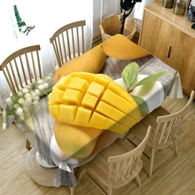 Home Decoration 3D Round Tablecloth Yellow Mango/Red Cherry Fruit Series Pattern Washable Thicken Cotton Rectangular Table Cloth