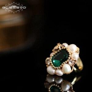Image 3 - GLSEEVO Natural Fresh Water Pearl Stone Ring For Women Engagement Wedding  Handmade Origainal Design Luxury Jewellery  GR0239