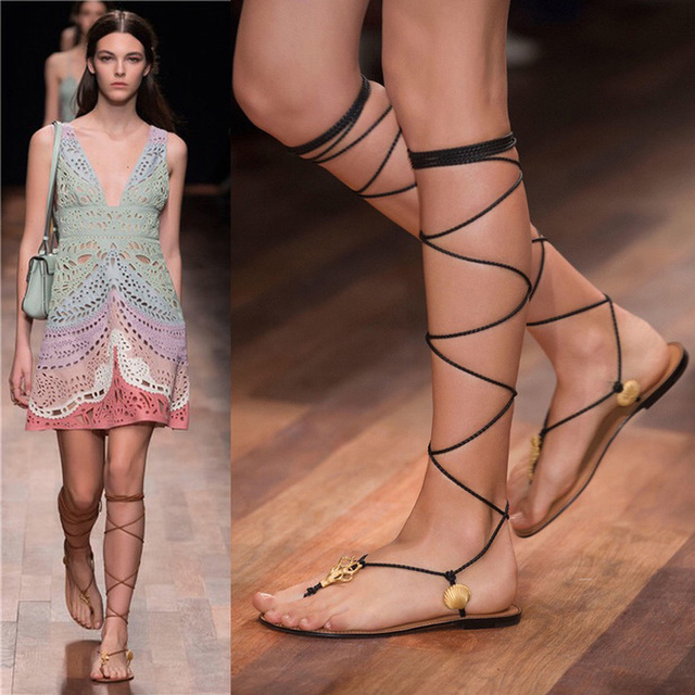 c2a33d25f9523b Sexy 2015 Lace Up Summer Womens Knee High Gladiator Sandals Flat Beach Flip  Flops Sandalias Gladiadora con Glitter
