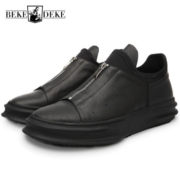 Italian Brand New Men Thick Platform Real Leather Casual Shoes Big Boys Zipper Gothic Hip Hop Footwear Male Retro  Shoes
