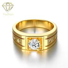 2017 New Design Brass Material Gold/Rose Gold/White Gold Color Men Biker Ring Shiny Zircon Fashion Men's Brand Gift Ring