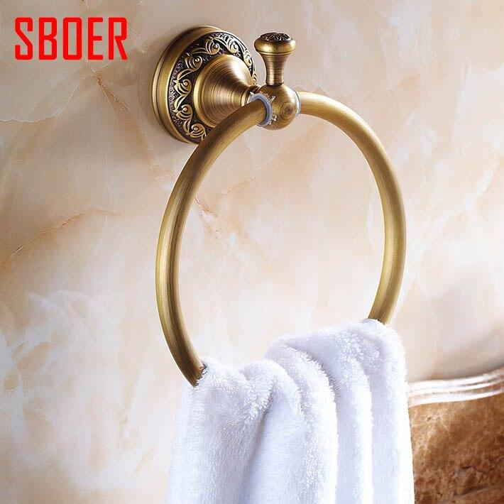 웃 유Vintage Antique Bathroom Accessories Brass Towel Ring Towel ...