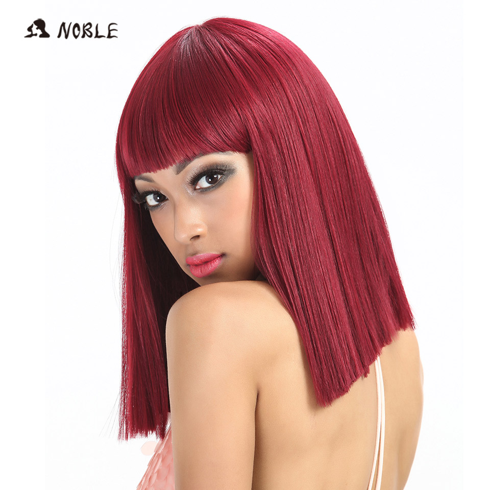 Noble Womens Synthetic Hair Wigs For Black Women 12 Inch Blonde Wig Short Straight Hair Wig Heat Resistant 5 Color