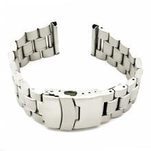 купить Silver 18 20 22 24mm Stainless Steel Solid WatchBand  Watch Band Strap Link Bracelet Accessories Folding Clasp + Tool по цене 865.59 рублей
