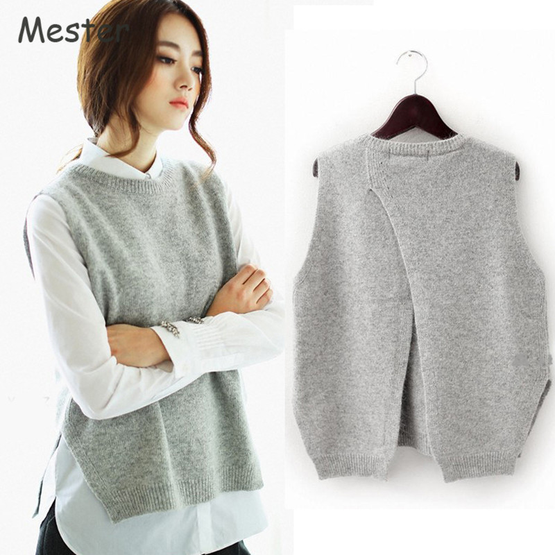 Back Vest Korean Red Knitted Pullover Crewneck 2017 Solid wine Women Open Sweater Cashmere Waistcoat Fashion Light Gray Sleeveless Wool black Loose Color Blue pink navy I6wwxSqdY