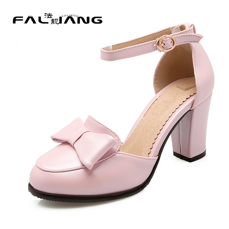 ФОТО Big Size 11 Sweet Butterfly-knot Casual Buckle Strap Square heel Women's Shoes High Heels Sandals Woman For Women