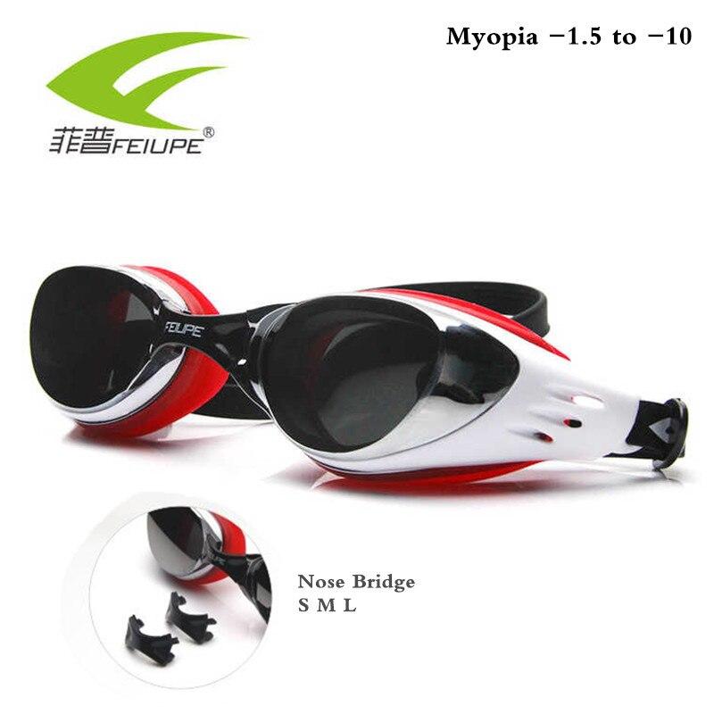 f8ebc01664 Gafas de natación Diopter miopía-1,5 a-10 piscina Anti-niebla HD 100% gafas  de buceo de silicona para niños con caja
