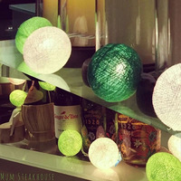 10m 38 Yellow Cotton Balls Lights Christmas Outdoor Lights Garlands LED Fairy String Holiday Party Wedding