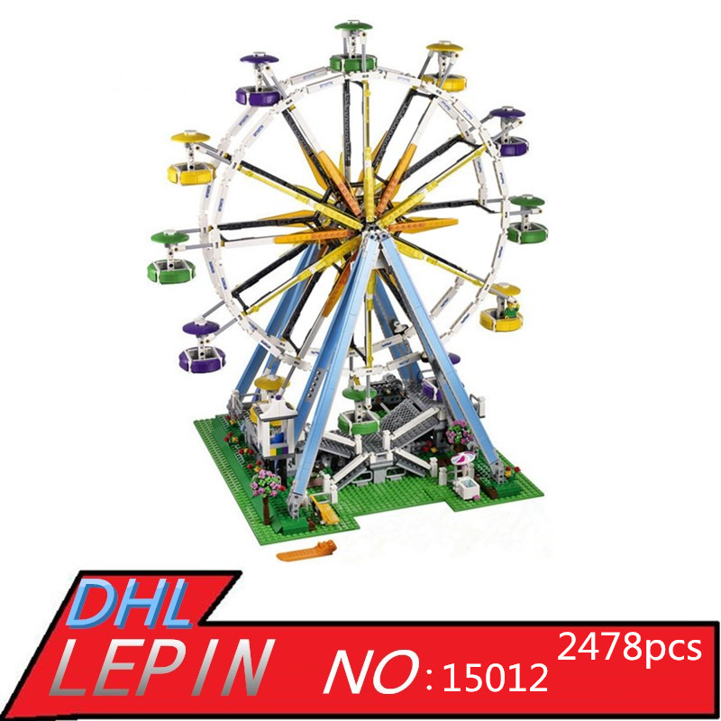 Expert Ferris Wheel Model LEPIN 15012 City Creator Building Kits Assembling Block Bricks Compatible Toys for Children with 10247 compatible lepin city block police dog unit 60045 building bricks bela 10419 policeman toys for children 011