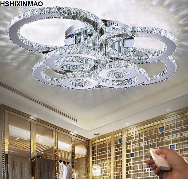 Modern Creative LED Ceiling Lamp Living Room Bedroom Ring Crystal Indoor LED Shine Dimming Ceiling Light Fixtures AC110-240V