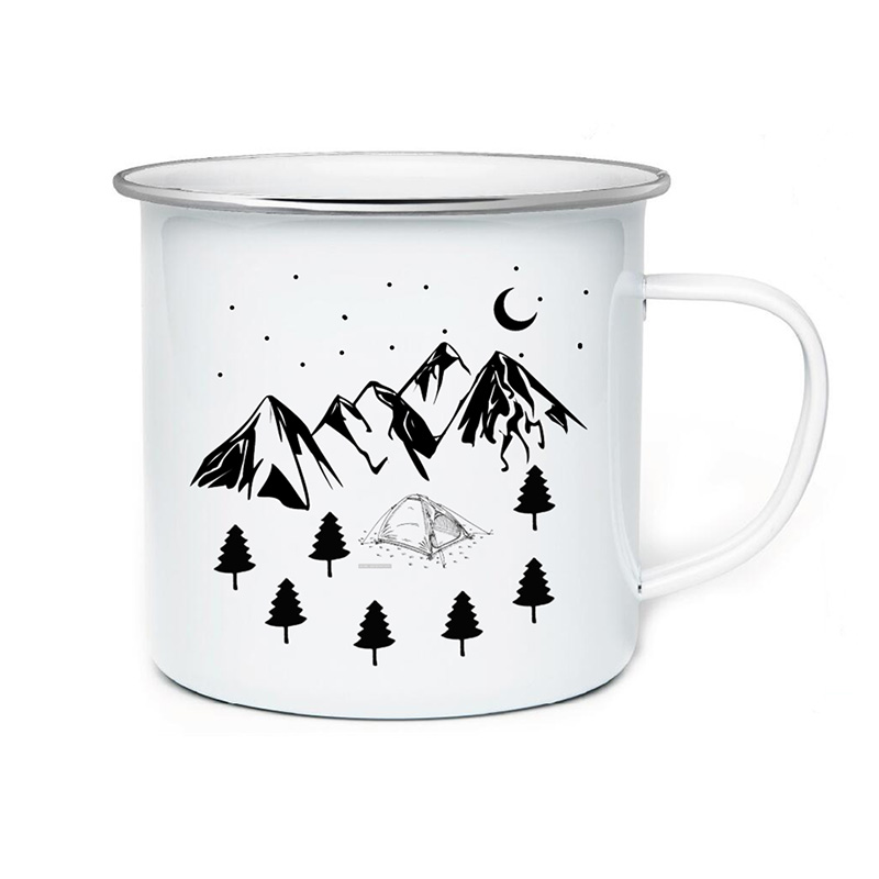 1PCS Camping Creative Coffee Mug Travel Tea Cup Custom Milk Enamel Mugs Handmade DIY home office