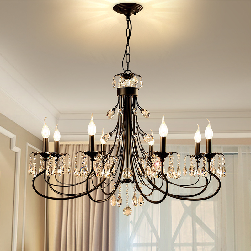High Quality American Crystal pendant lamps Living Room Restaurant Bedroom Candle Nordic Iron pendant light 6/8/12 heads платье loca